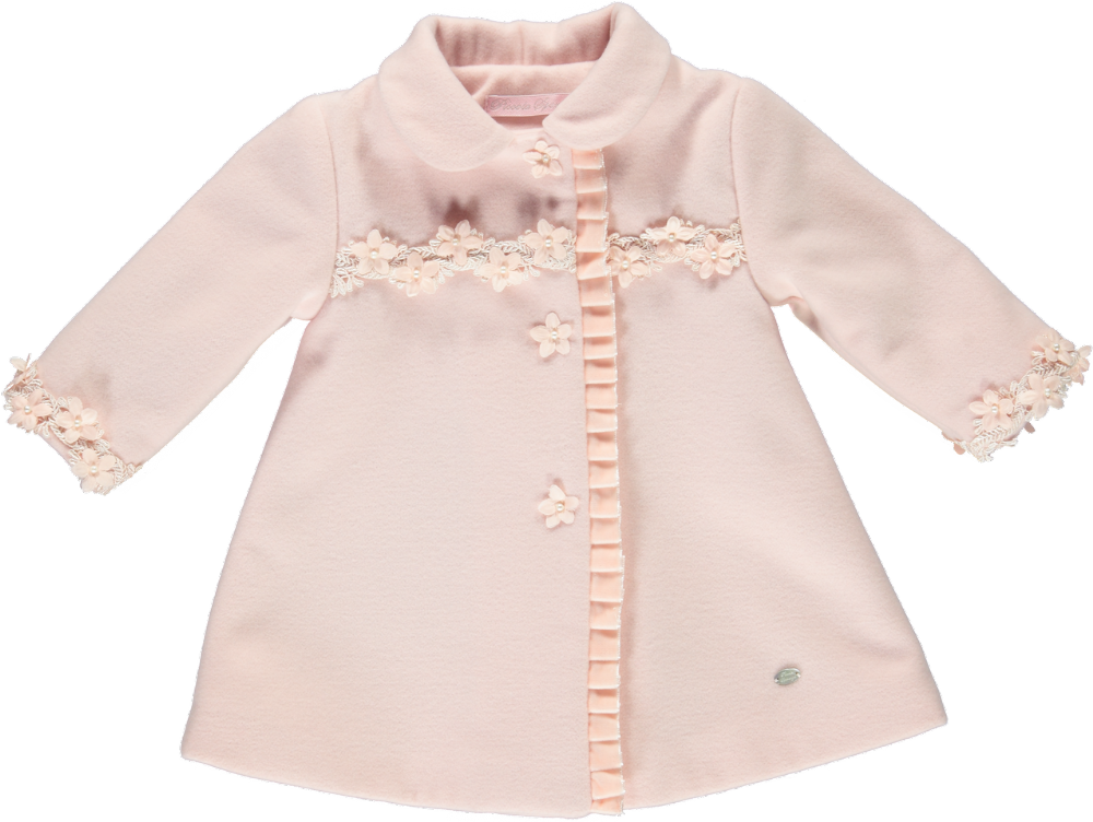 Piccola Speranza Girls Pink Flower Coat